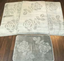 ROMANY WASHABLE TRAVELLERS MATS 4PC SET NON SLIP REGULAR SIZE SILVER/GREY ROSE